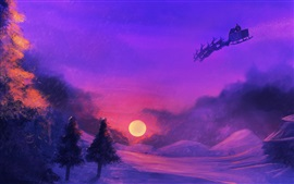 Art drawing, Santa, night, snow, moon