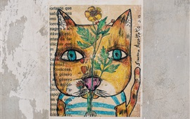 Dibujo de arte, gato, flor, pared