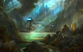 Preview wallpaper Art picture, future, mountains, robot, trees, sci-fi
