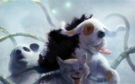 Preview wallpaper Art watercolors, panda, sheep, cat
