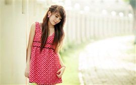 Preview wallpaper Asian girl, red skirt, sadness