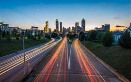 Preview wallpaper Atlanta, USA, road, skyscrapers, lights, city, dusk