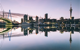 Preview wallpaper Auckland, New Zealand, port, river, bridge, yacht, dusk, buildings
