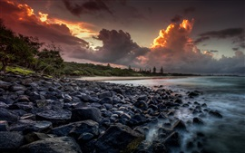 Preview wallpaper Australia, sea, coast, stones, trees, clouds, sunset