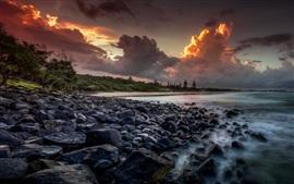 Australia, sea, coast, stones, trees, clouds, sunset