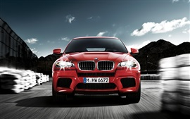 Preview wallpaper BMW red car front view, speed