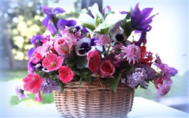 Preview wallpaper Basket, many kinds flowers