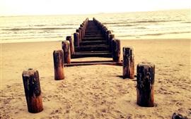 Playa, muelle, madera