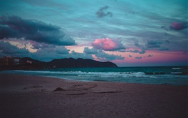 Beach, sea, waves, clouds, evening