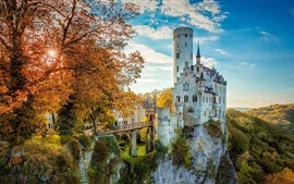 Beautiful castle, trees, mountains, sunrise, autumn