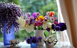 Preview wallpaper Beautiful flowers, vase, colorful