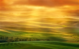 Preview wallpaper Beautiful landscape, hills, fields, green, sun rays, fog, morning