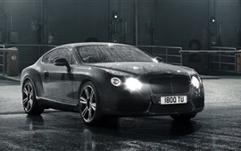 Preview wallpaper Bentley Continental GT black car, after rain, water drops