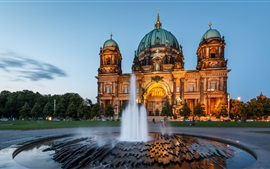 Berlin Cathedral, architecture, Germany, night, fountain