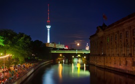 Berlin, Germany, city, night, river, tower, lights