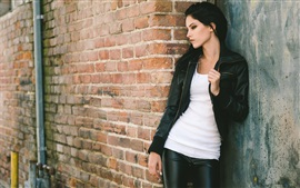 Preview wallpaper Black leather jacket girl, wall, door