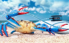 Preview wallpaper Blue crab want to cut wire