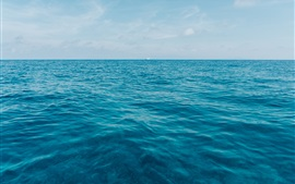 Preview wallpaper Blue sea, horizon, ship