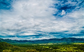 Blue sky, valley, trees, clouds