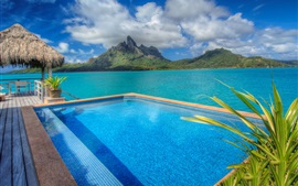 Preview wallpaper Bora Bora island, France, resort, pool, sea