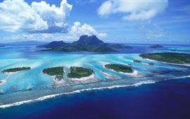 Preview wallpaper Bora Bora island, blue sea, clouds, French