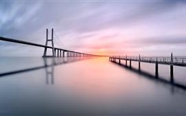 Preview wallpaper Bridge, pier, river, morning, calm water