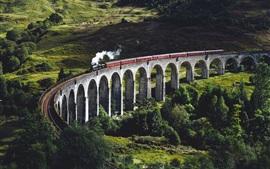Aperçu fond d'écran Pont, train, chemin de fer, arbres, herbe