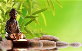 Preview wallpaper Buddha statue, stones, water, bamboo leaves, candle