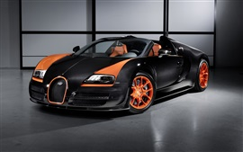Preview wallpaper Bugatti Veyron supercar, black and orange