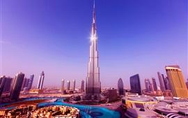 Burj Khalifa Tower, arranha-céus, Dubai, Emirados Árabes Unidos, céu azul