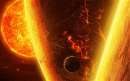 Preview wallpaper Burning planets, hot