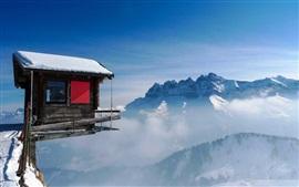 Preview wallpaper Cabin, mountain top, snow, fog