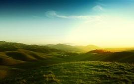 Califórnia, EUA, paisagem natural, manhã, colinas, campos, nascer do sol