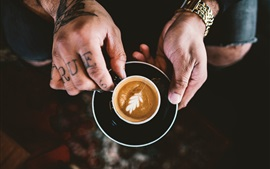 Preview wallpaper Cappuccino, coffee, cup, hands
