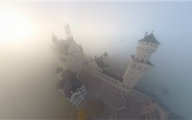 Castle, fog, top view, Germany
