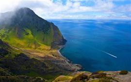 Chile, linda paisagem, montanha, praia, ilha, mar azul, penhasco