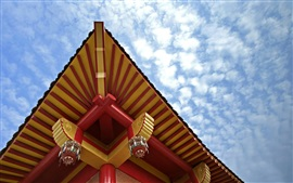 China, retro building, roof, patterns, sky, clouds