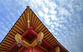 Vorschau des Hintergrundbilder China, retro Gebäude, Dach, Muster, Himmel, Wolken