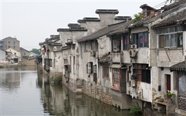 Preview wallpaper China, river, town, houses