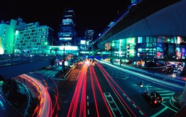 Preview wallpaper City night, roads, buildings, traffic, lights