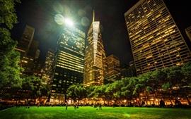 Vista nocturna de la ciudad, Nueva York, parque, rascacielos, luces, iluminación
