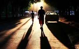 City, road, people, car, sunset, sunlight, shadow