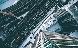 Ciudad, rascacielos, vista superior, carreteras, automóviles