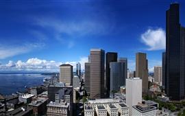 城市景观,建筑,摩天大楼,海,云,蓝蓝的天空