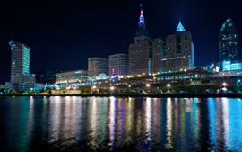 Preview wallpaper Cleveland, night, lights, river, skyscrapers, USA