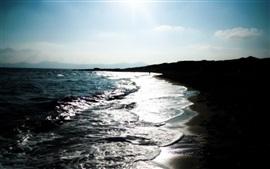 Coast, sea, waves, beach, dusk