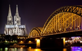 Cologne, Germany, cathedral, river, bridge, lights, night