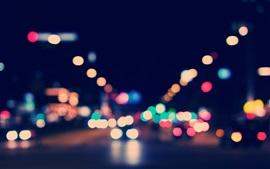 預覽桌布 多彩的光圈,城市,夜晚,眩光