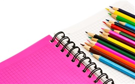 Preview wallpaper Colorful pencils, notebook