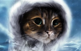 Preview wallpaper Cute kitten, front view, watercolors